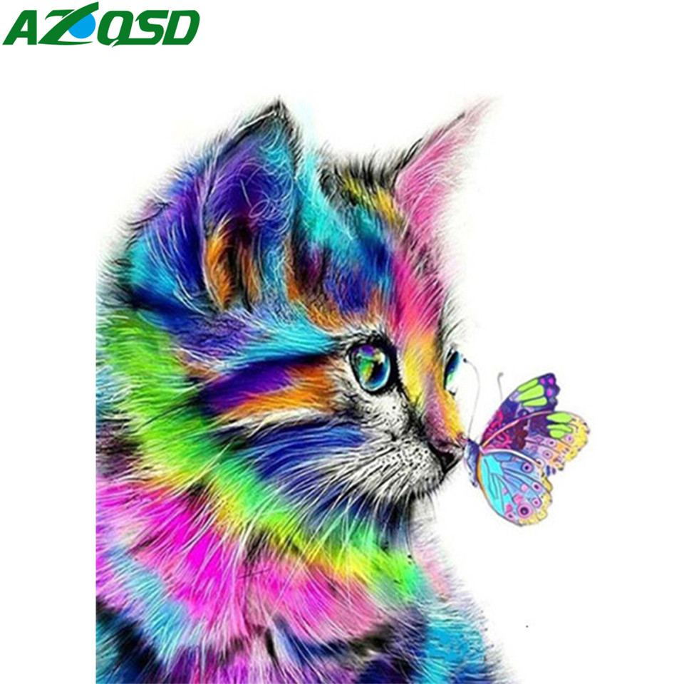 AZQSD DIY Oil Painting By Numbers Animal On Canvas Home Decoration Acrylic Paint Coloring By Numbers Cat Handmade Gift