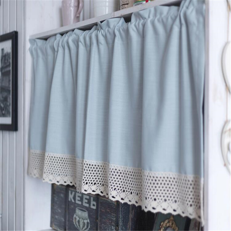 Free Shipping Pastoral Blue Half Curtain Lace Coffee Curtain Kitchen Short Small Blinds Home Window Shades Valance Purdanh Drape