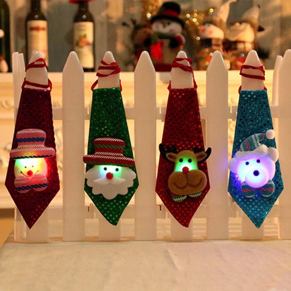 1pc Christmas Tie Sequins Santa Claus Snowman Reindeer Bear Christmas Decoration For Home Xmas Decoration Kids Toy Ornaments