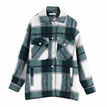 autumn red Plaid coats and jackets women streetwear fashion Long Sleeve office