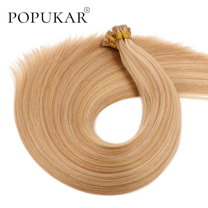 Popukar Hot Balayage Color #27/613 0.66g/strand Russian Mini I Tip Hair Double Drawn Human Hair Stick I Tip Hair Extensions