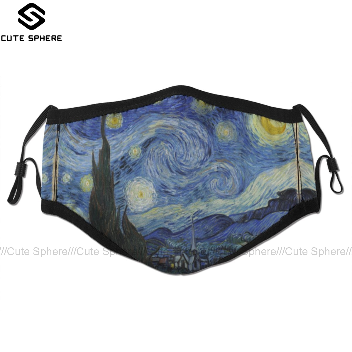 Starry Sky Mouth Face Mask Starry Night Vincent Van Gogh Facial Mask Kawai Cool With 2 Filters For Adult