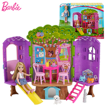 Original Barbie Club Chelsa Doll and Accessories Princess Baby Doll Toys for Children Pets Leisure Tree House Girls Toy Gift Set