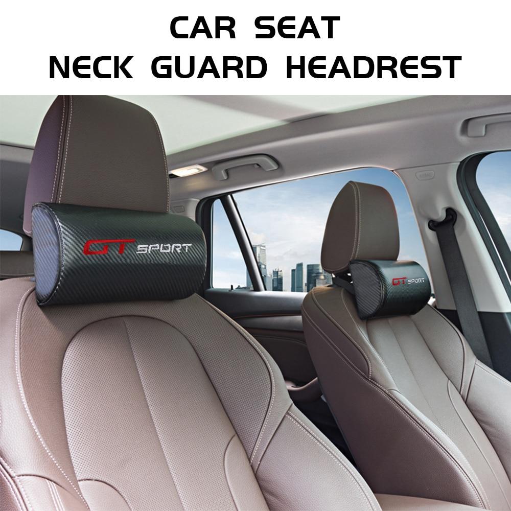 Carbon Fiber Car Seat Cushion Head Neck Rest Support Protector GT SPORT Logo for Dodge Honda Skoda Chevrolet BMW Nissan Toyota