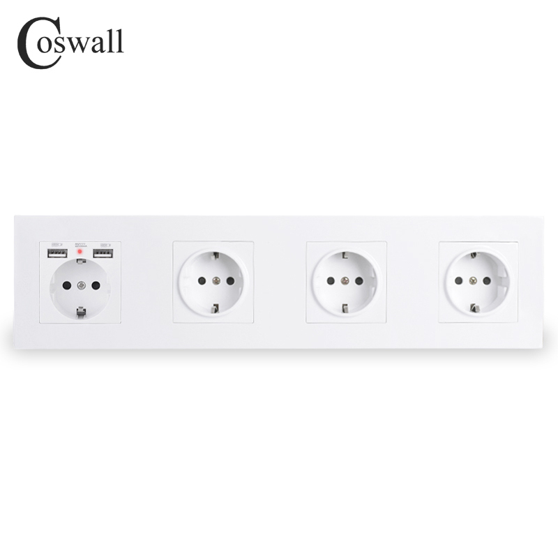 COSWALL 4 Gang Wall EU Socket Grounded + Dual USB Charging Port With Hidden Soft LED Indicator Black White Gold PC Panel