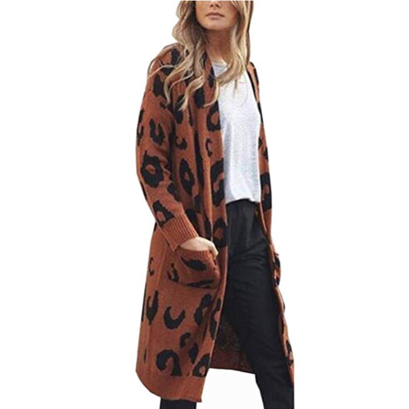 Knitted Women Coat Autumn Winter Hot Leopard Long Sweater Loose Clothes For Female Casual Women Winter Sweater