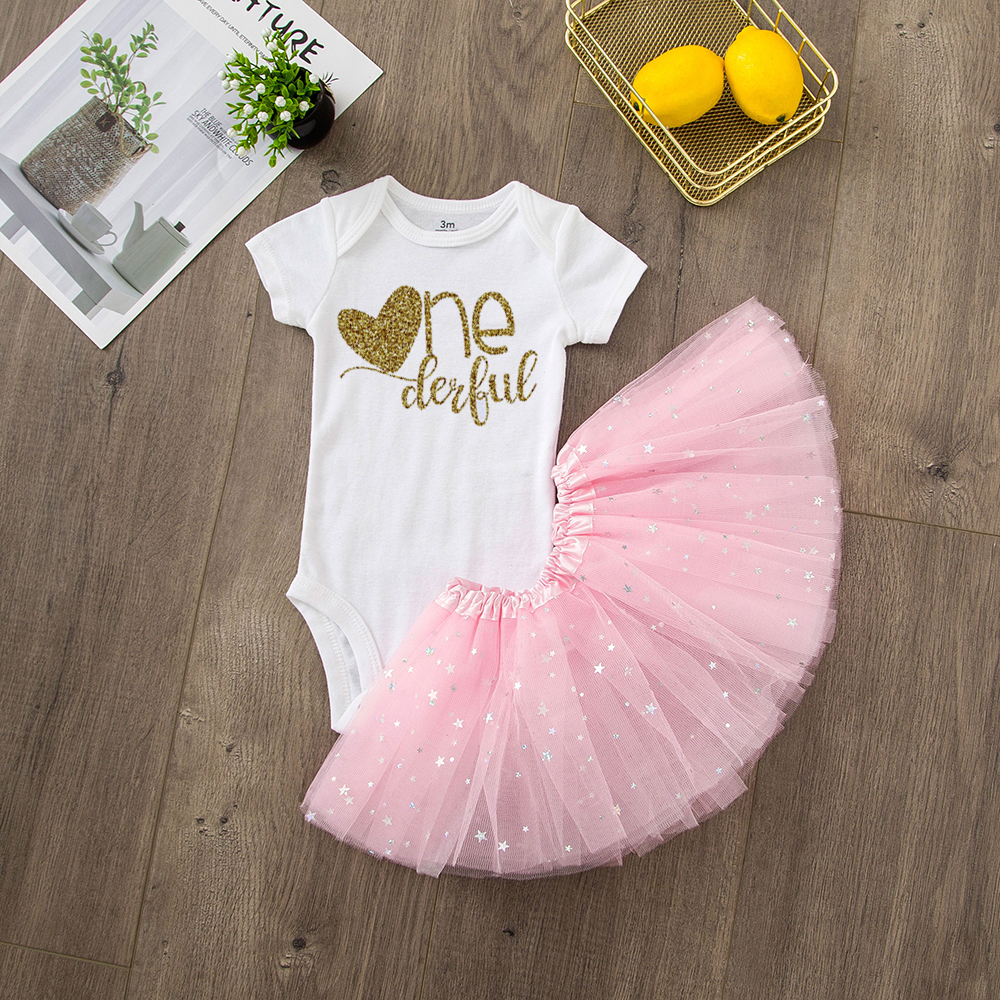 ONEderful Birthday Pink Gold Outfit 1st Birthday Party Girls Outfits Cake Smash Tutu+baby Bodysuits Summer Set Fashion Wear 13