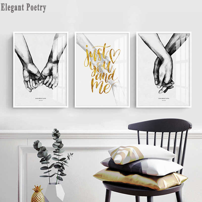 Nordic Black And White Canvas Painting Lover For Living Room Decorative Painting Holding Hands Wall Art Poster Picture Room Deco