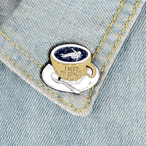 "Image 5 - Free time Coffee Pins ""I NEED MY SPACE"" Astronaut Brooches Badges Bag Accessories Pins Fashion Jewelry Gifts for Staff Friends"