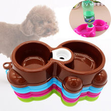 Double Dog Bowl Cute Bear Dual-use Feed Food Water Bowls Puppy Automatic Feeder Dispenser Plate Dish Pot Kitten Travel Bottle(China)