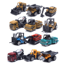 6pcs Excavator Model Cars Set Kids Gifts Classic Educational Assemble Toys 1/64 Diecast Alloy Engineering Vehicle