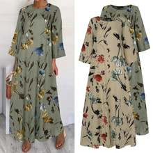 Holiday Dress Robe Maxi Vestidos Floral-Printed Bohemian Casual Loose Long Plus-Size
