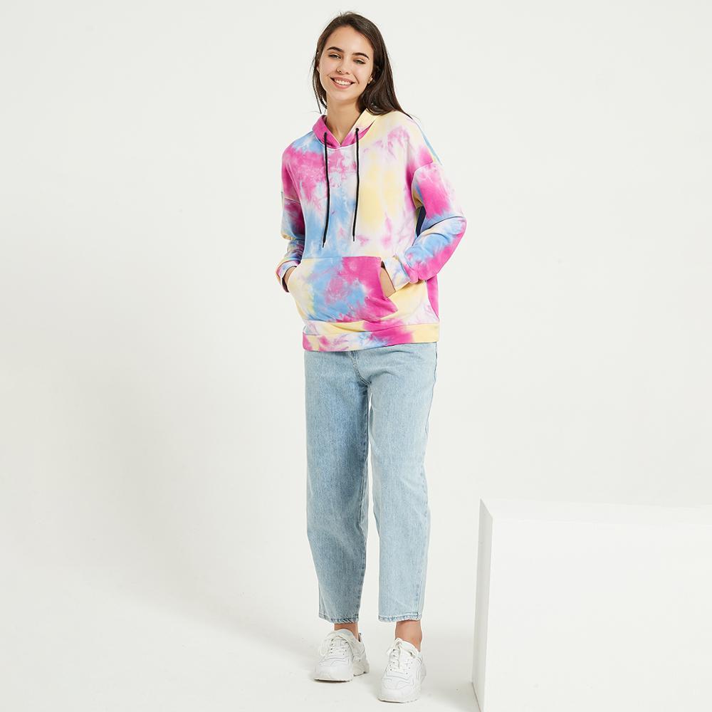 Wixra Womens Tie-dye Sweatshirts Femme New Fashion Hot Hoodies Pocket Long Sleeve Autumn Winter Casual Streetwear Tops 2