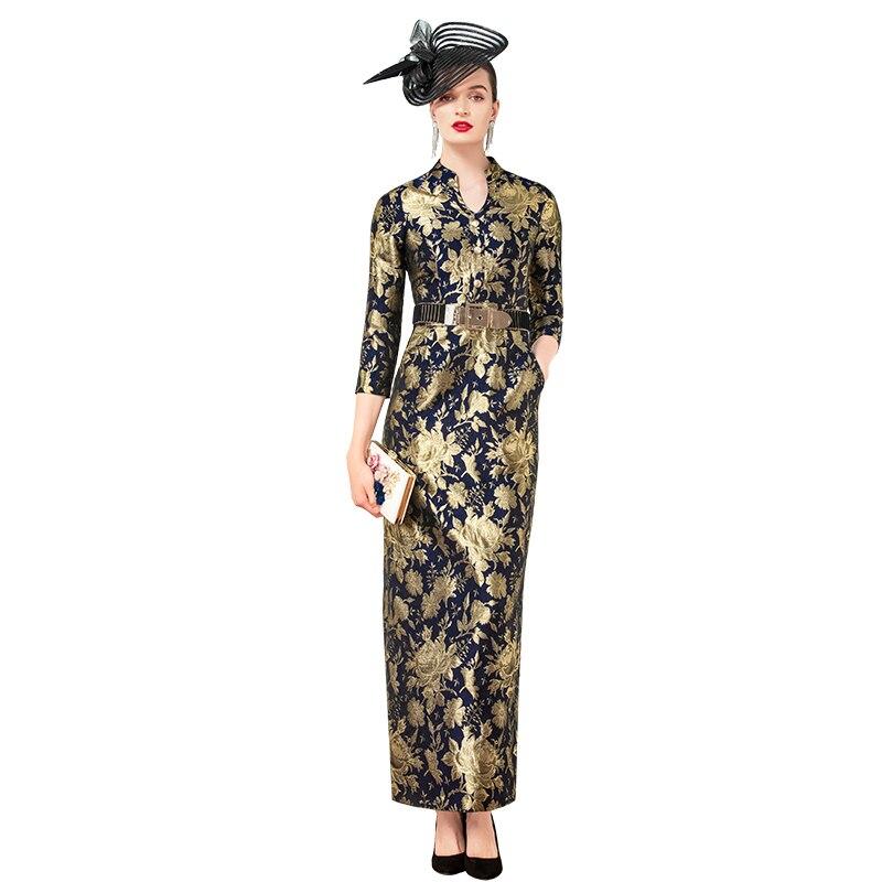 Jacquard High Quality Autumn Slit Long Dress Three Quarter Straight Office Lady Dresses Party Evening Women Clothing DZ2287
