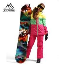 SAENSHING лыжный костюм для женщин водонепроницаемая куртка для горного катания на лыжах+ сноуборд брюки для девочек ветрозащитный супер теплый зимний комплект для женщин