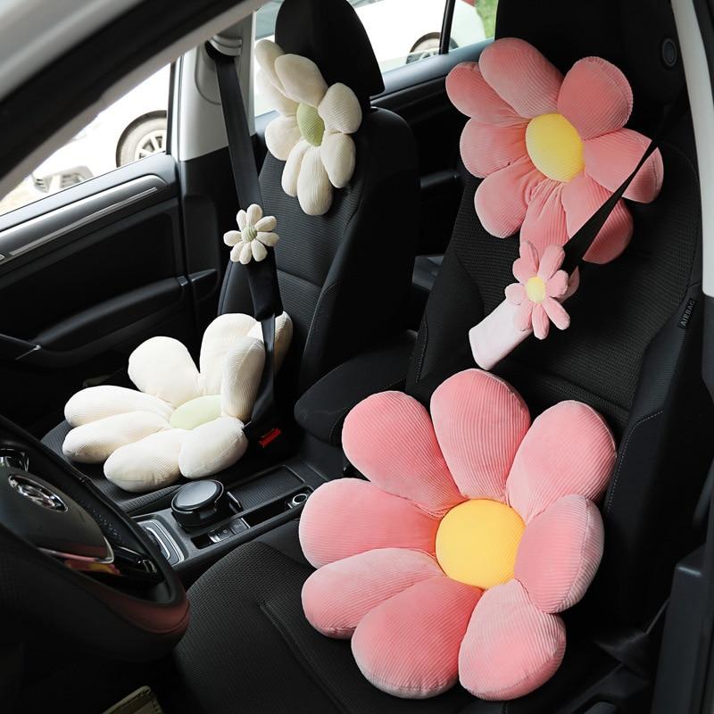 Car plush headrest creative sun flower car neck pillow back pillow lumbar head support cushion women s car interior accessories