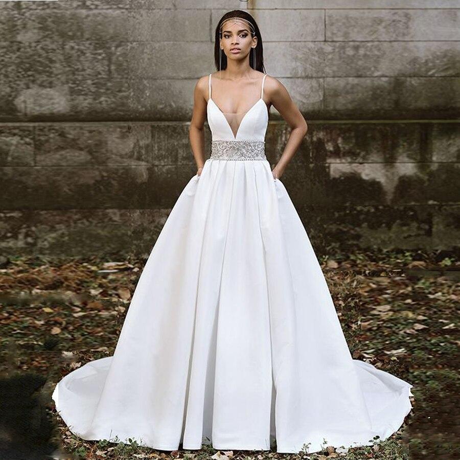 Satin Tulle V-neck Neckline Spaghetti Straps Beading Crystal A-line Wedding Dress With Sweep Train Bridal Dress Vestido De Noiva