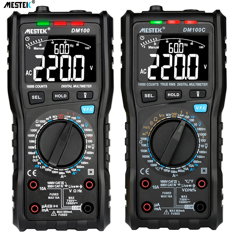 MESTEK DM100 Digital Multimeter High Speed Smart Double Core T-rms NCV Temperature multimetro Anti-burn Fuse Alarm multimeters
