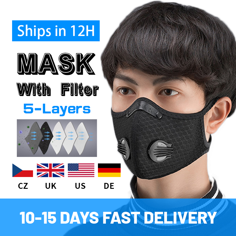 PM2.5 Cotton Mask For Woman Man 2020 Fashion Breath Valve Mouth Masks Filter Pad Pollution Cloth Activated Carbon Filter