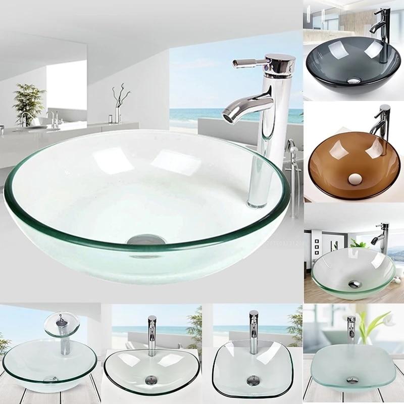 Modern Bathroom Vessel Sink Tempered Glass Vanity Bath Basin Sink Faucet Pop Up Drain Bathroom Sinks Aliexpress