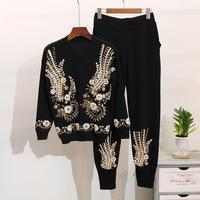 Spring Winter Sweater Set Beading Embroidery Long Sleeve Knitted Top Long Trousers Women 2 Piece Set