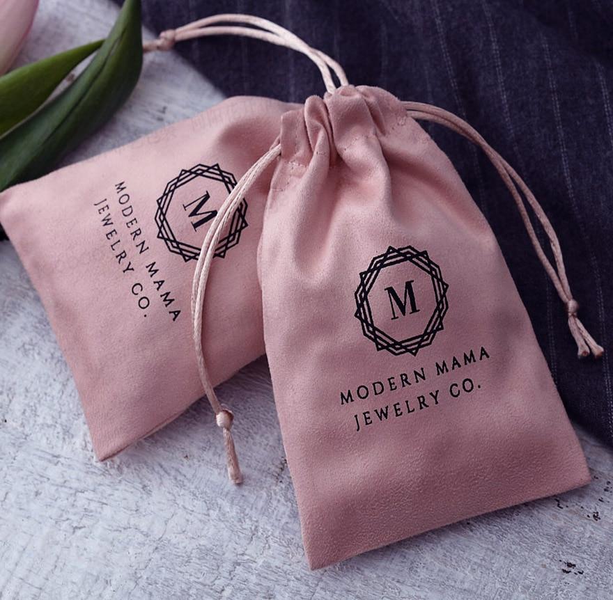 50 Pink Flannel Gift Bag 5x7cm 7x9cm 9x12cm 10x15cm Makeup Jewelry Velvet Drawstring Pouch
