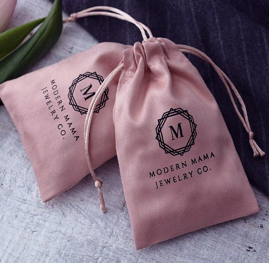 50pcs Pink Flannel Velvet Gift Bag 7x9cm 9x12cm Makeup Jewelry Velvet Drawstring Pouch
