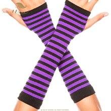 SISHION осенние наручные руки Гетры вязаные перчатки без пальцев с длинным рукавом мягкие полосатые локоть перчатки SP0527