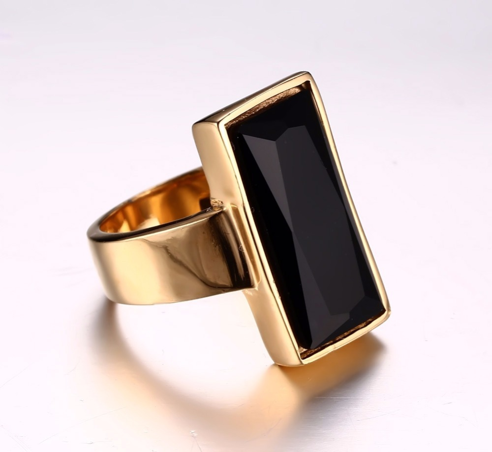 Mens Womens Rings Stainless Steel Gold-color Rectangular Black Glass Crystal Ring for Women Fashion Jewelry,Best Friend Gift anel masculino 15