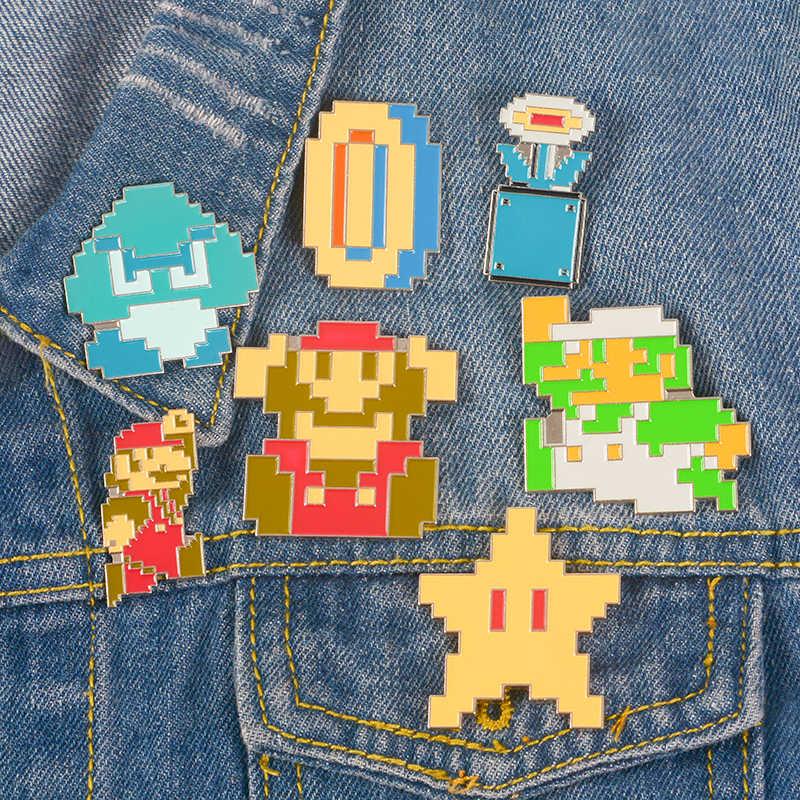 Permainan Klasik Kerah Pin Logam Super Mario Bros. Kartun Pixel Bros Lencana Ransel Pin Perhiasan Hadiah untuk Para Penggemar Game Teman