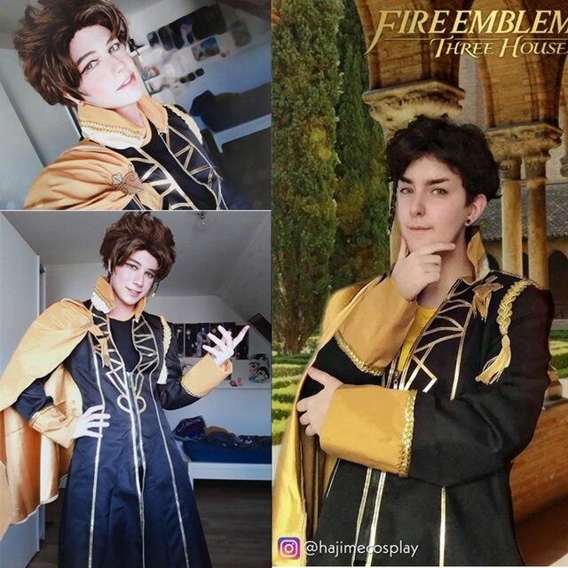 Fogo emblema jogo: três casas claude von regan fantasia batalha meninos cosplay traje adulto uniforme camisa superior calças manto