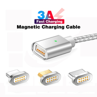 Magnetic Cable USB Type C Cable & Micro USB Cable & iOS Nylon Braided LED Indicator Data Sync 3A Nylon Magnet Charger Cable