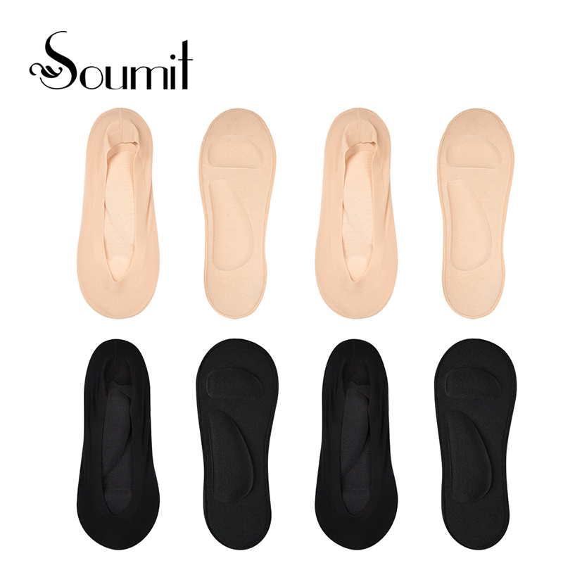 Soumit 4 Pairs Arch Support Boat Socks Ice Silk Ultra-Thin Socks With Gel Forefoot Pads Women Invisible Lace Cotton Summer Socks