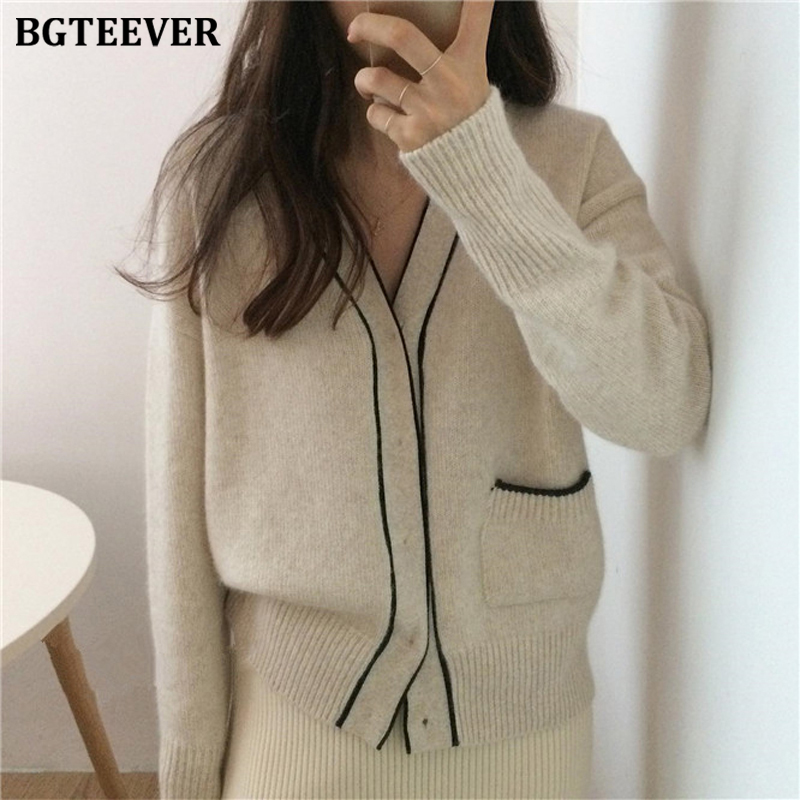 BGTEEVER 2019 Winter V-neck Elegant Women Sweater Cardigan Open Stitch Jumpers Female Single-breasted Knitted Cardigan