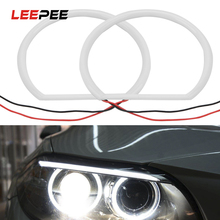 LEEPEE 1 Pair 자동차 스타일링 화이트 헤일로 코튼 라이트 자동차 SMD LED 천사 눈 12V 131mm 울트라 브라이트 BMW E46 비 프로젝터