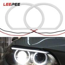 LEEPEE 1 Xe Ô Tô Tạo Kiểu Tóc Trắng Hào Quang Bông Đèn Xe SMD LED Đôi Mắt Thiên Thần 12V 131Mm Siêu sáng Cho Xe BMW E46 Không Máy Chiếu