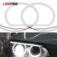 LEEPEE 1 çift araba styling beyaz Halo pamuk açık araba SMD LED melek gözler 12V 131mm Ultra parlak BMW E46 olmayan projektör