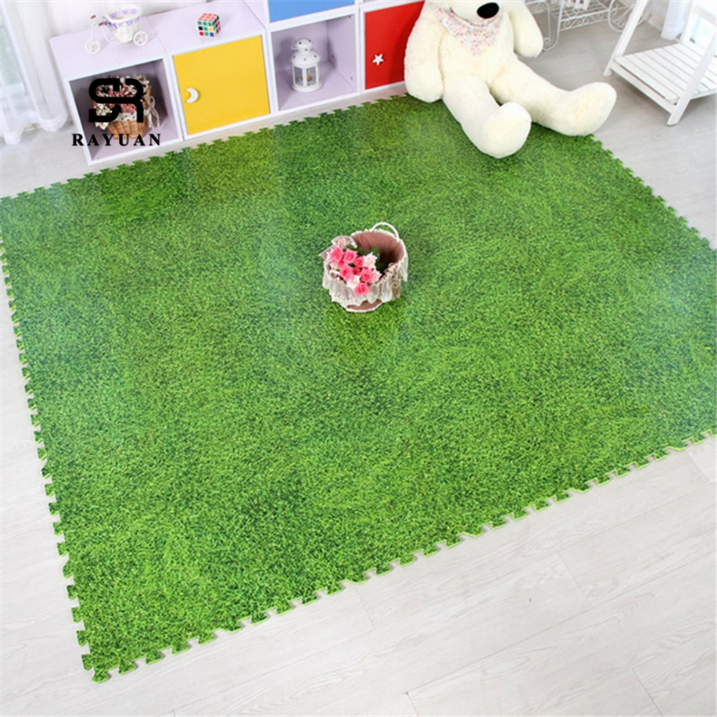 RAYUAN 9CS Creative Grass Like Puzzle Carpets EVA Foam Carpet Jigsaw Mat Soft Area Rug Children Baby Play Mats Playmat 30x30CM