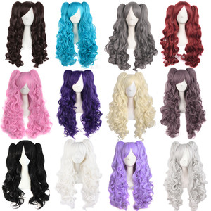 20 Colors Long Curly Ponytails Wig Lolita Base Wig Twin Pigtails Black Blue Pink Red Golden Purple Cosplay Basic Synthetic Hair(China)
