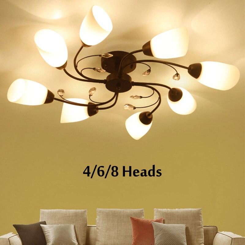 Smuxi 6/8 Heads Iron Chandelier LED Ceiling Lamp Pendant Light Lighting for Bedroom Living Room E27 220V (NOT INCLUDE BULB)