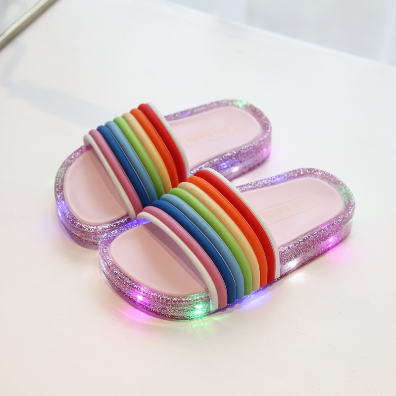 Kids Slippers Summer New LED Flashing Lights Jelly Rainbow Word Drag Sandals Soft Bottom  Fish Mouth And Sandals Beach  Slippers