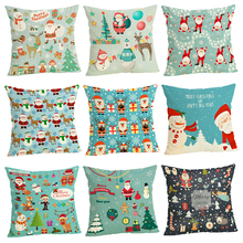 Christmas Cushion Covers  Home decoration 45x45 Decorative Cushion Case Beige Linen Pillow Case sofa cushion cartoon christmas decorative cushion covers