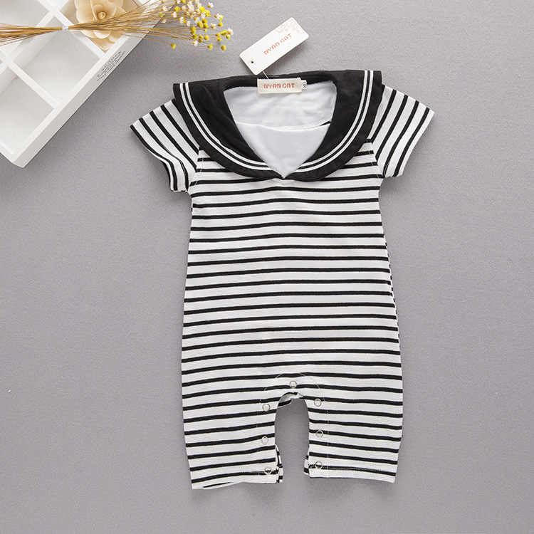 Special Approval Stripes Baby Navy Suit/Sailor Jumpsuit Romper BB Crawling Clothes