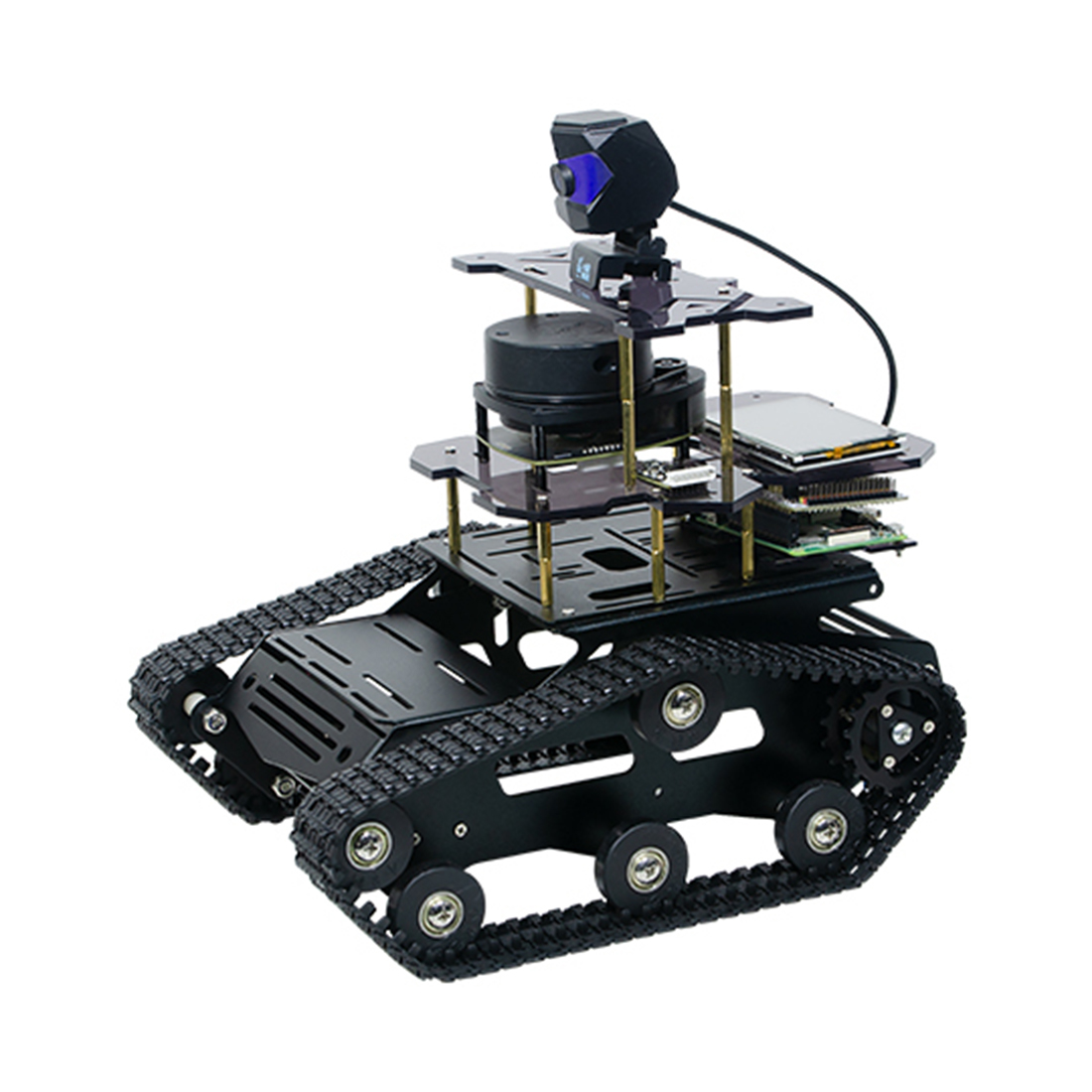 DIY Smart Robot Tank Chassis Car With Laser Radar For Raspberry Pi 4 (2G) For Children Developmental Early Education Toys- Black