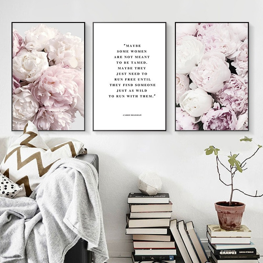 Pink Flowers Peony Home Decoration Painting Female Admonishment Poster Home Wall Art Canvas Painting Cuadros Decoracion Salon