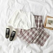 Fashion 2019 Women Sweet Wide Leg Pants Set Korean Solid Casual Suits Cotton T-Shirt And High Waist Plaid Pant Two Piece Set цена и фото