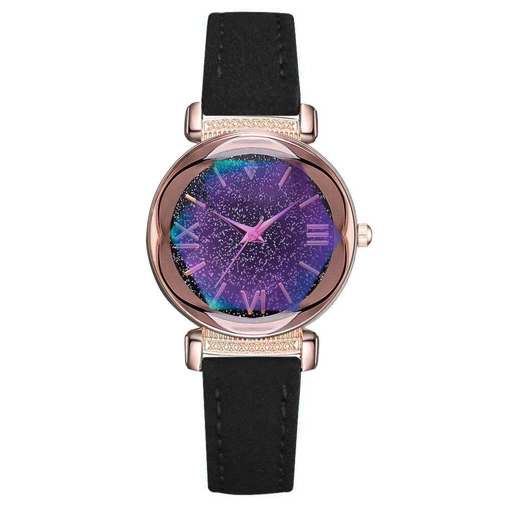 Hot Sale Women Watches Fashion Leather Strap  Dial Ladies Quartz Wristwatch  Romantic Starry Sky Clock Gift Zegarki Damskie Fi