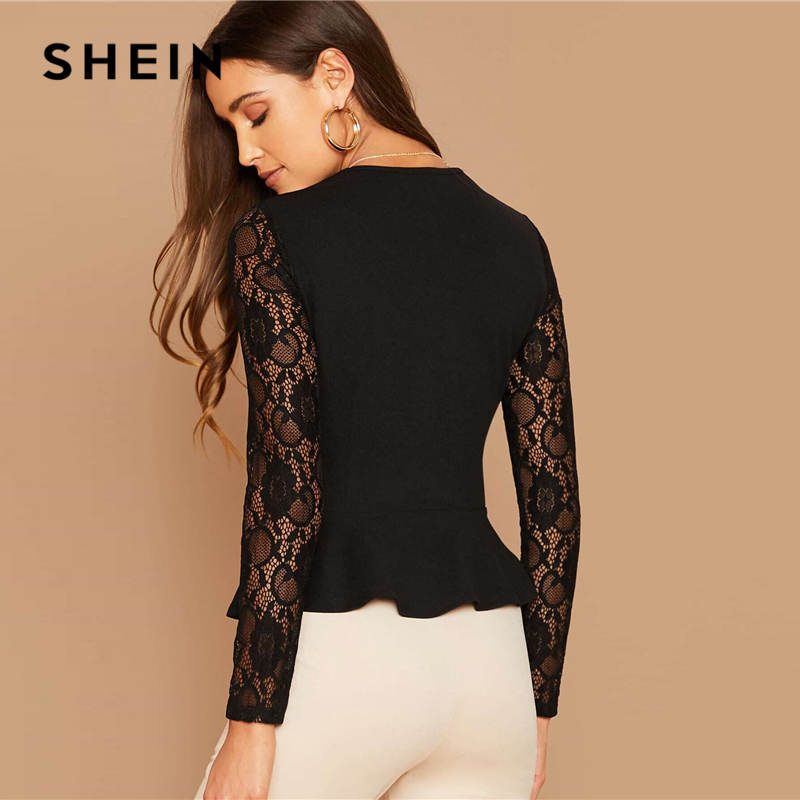 SHEIN Black Notch Neck Sheer Lace Sleeve Peplum Top Women Autumn Solid Elegant Office Ladies Slim Fit Ruffle Blouses 2