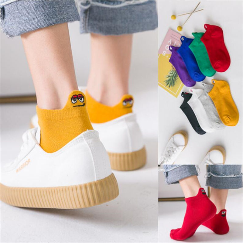 1 Pair Cotton Socks Solid Heel Smiley Face Embroidery Comfortable Breathable Novel Men And Women PassSocks Candy Colors