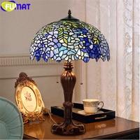 FUMAT 11,11 Verkauf Tiffany Stil Glyzinien Home Decor Tisch Lampen Stainded Glas Kunst Schreibtisch Licht Blau 8 12 16 20 zoll Schatten Antike